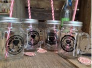 Retro Dad's BBQ Glass Drinking Jar With Lids & Plastic Straw